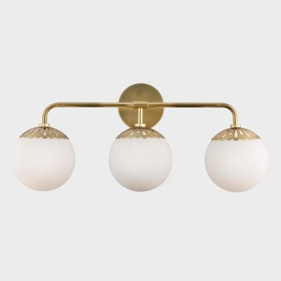 Henry 3-Light Aged Brass Bath Light with Opal Glossy Glass Shade