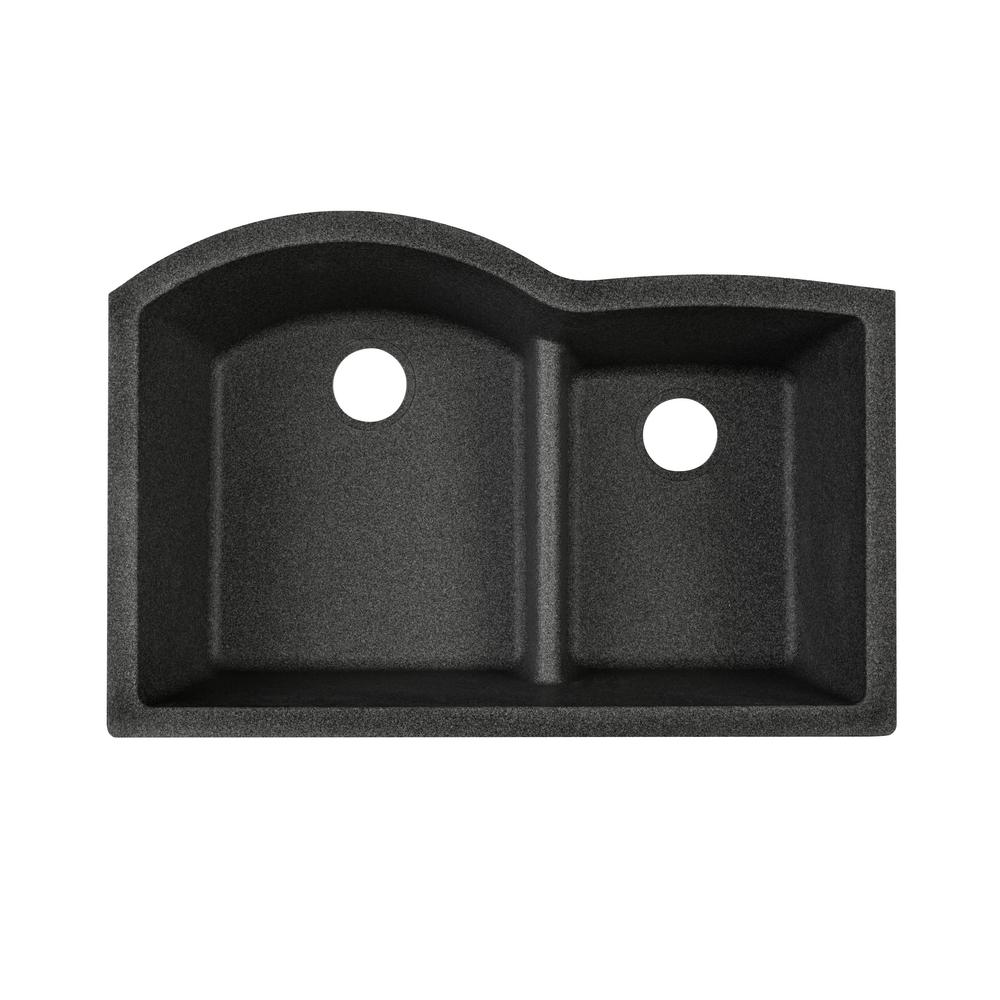Elkay Quartz Classic Undermount Composite 33 in. Rounded Offset Double Bowl Kitchen Sink in Black Shale