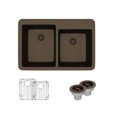Drop-In Quartz 33 in. Offset Double Bowl Kitchen Sink in Umber