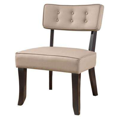 Stone/Gray Faux Leather Button Tufted Accent Chair