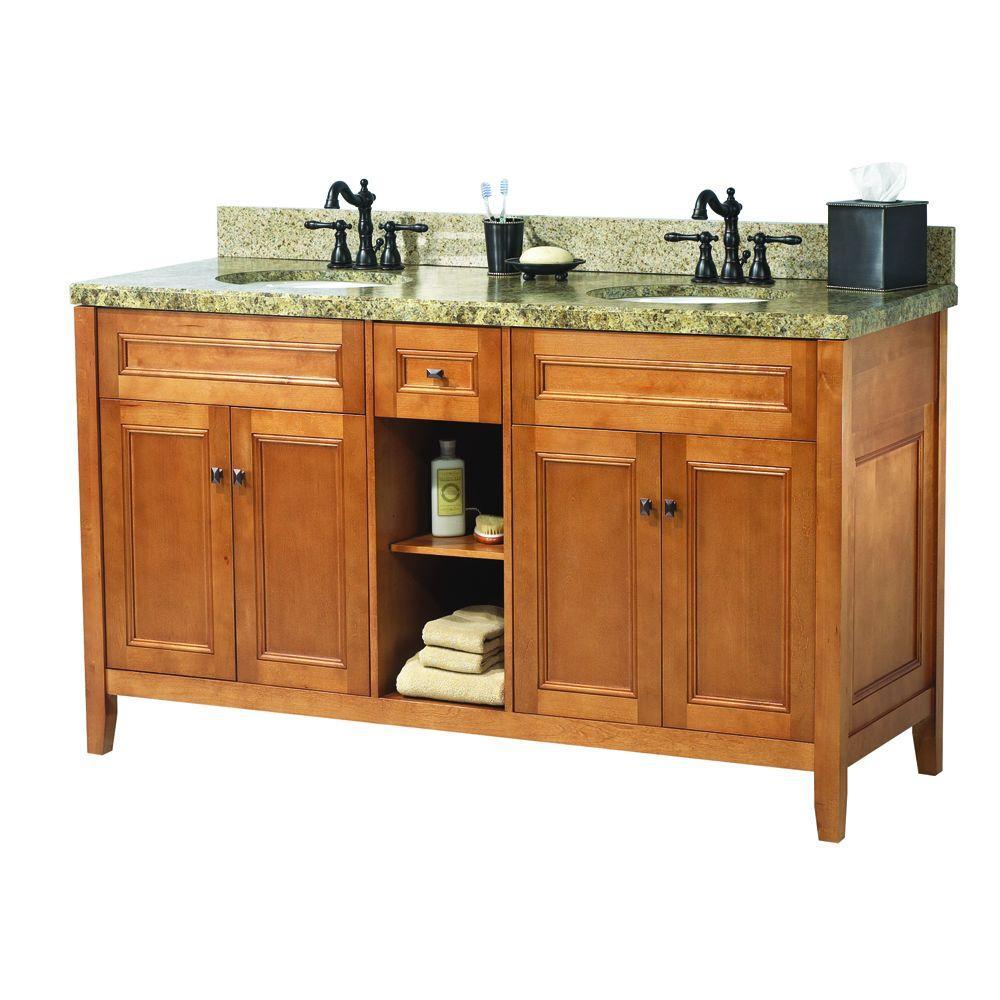 Foremost Exhibit 61 in. W x 22 in. D Double Bath Vanity in Rich Cinnamon with Granite Vanity Top in Quadro