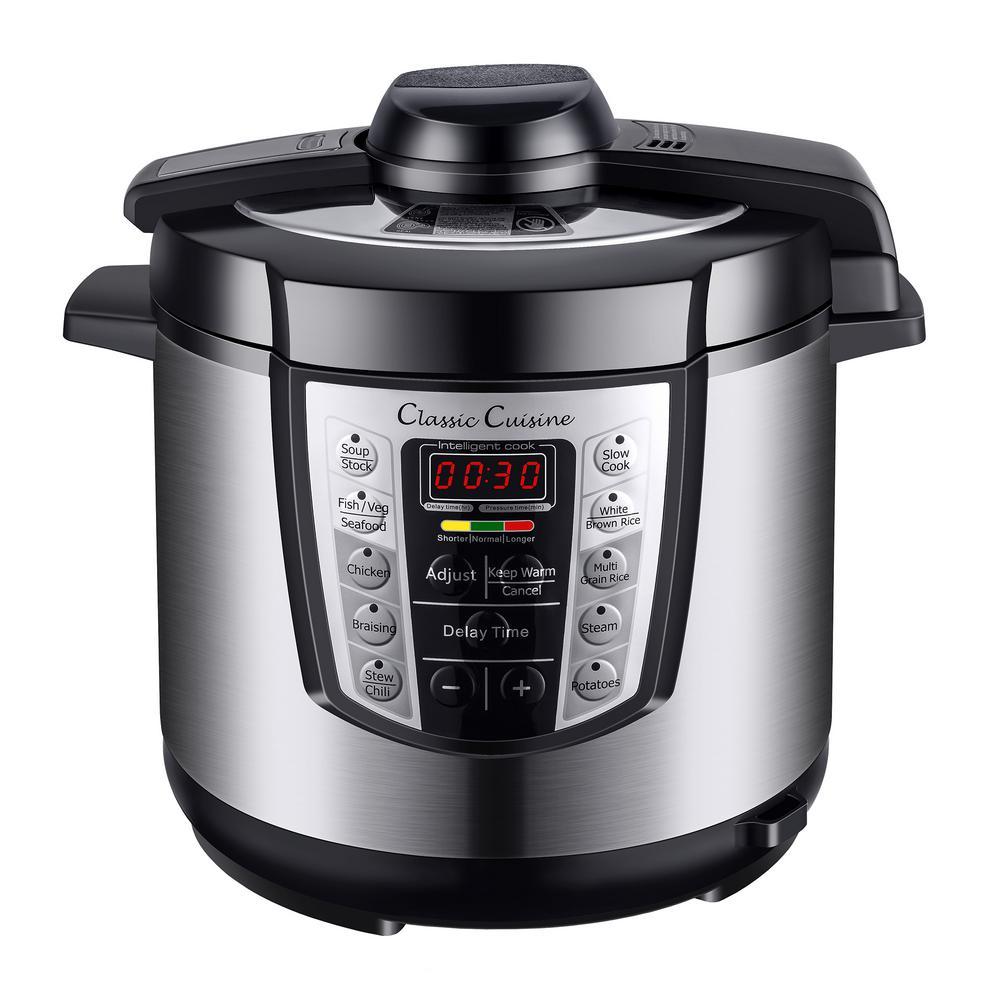 Classic Cuisine 4-in-1 Multi-Function 6 Qt. Silver Electric Pressure Cooker