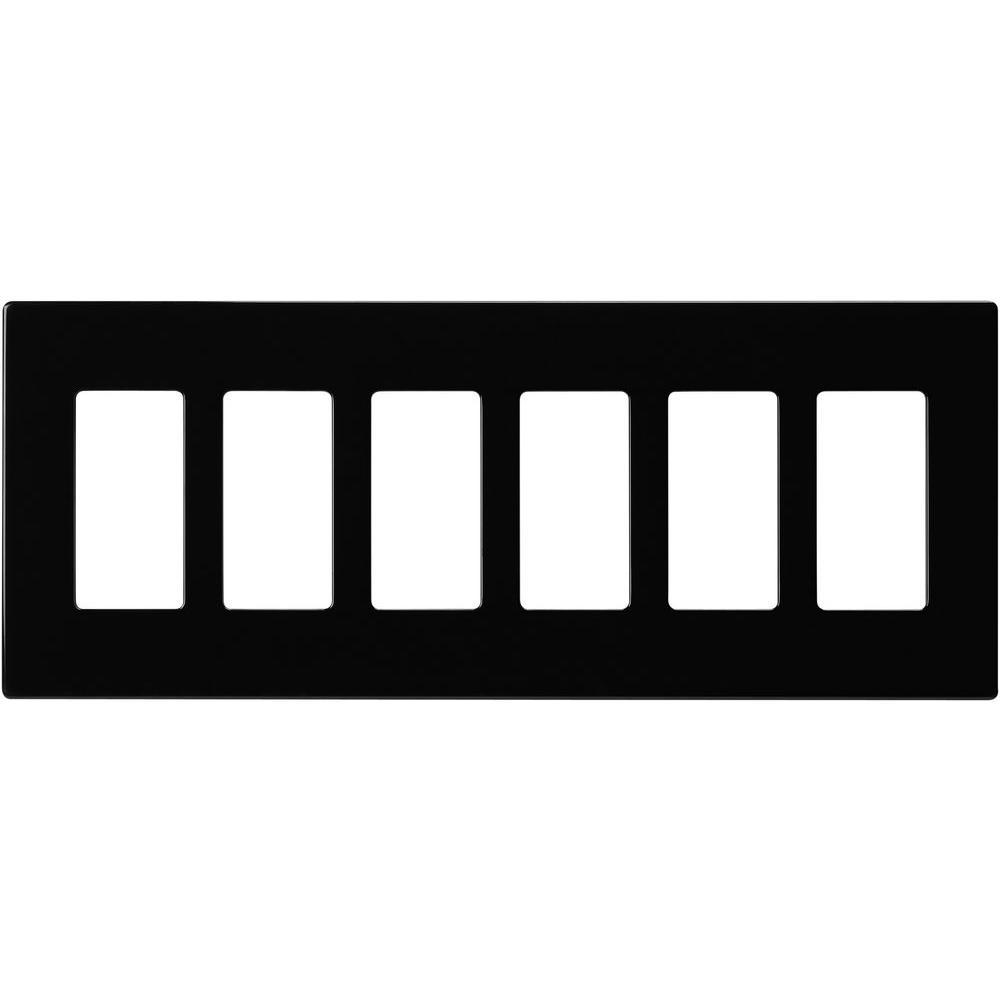 6-Gang Decorator Screwless Wall Plate, Black