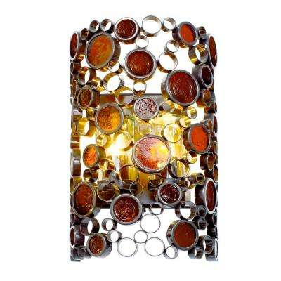 Fascination 2-Light Glossy Bronze Outdoor Sconce with Amber Glass