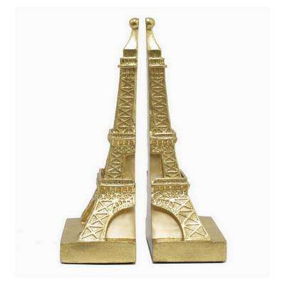 10 in. Gold Eiffel Tower Bookend (Set of 2)