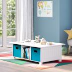RiverRidge Home Kids White 6-Cubby Storage Activity Table with 2-Piece Turquoise Bins