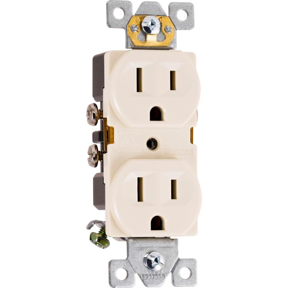 Ge 15 Amp Heavy Duty Grounding Duplex Receptacle 2 Outlet Light Almond 42478 The Home Depot