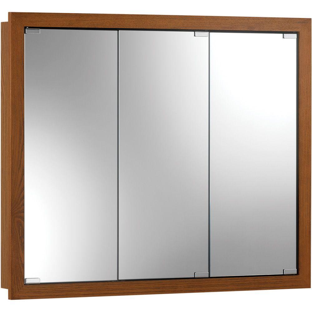 Granville 30 in. x 26 in. x 4-3/4 in. Framed Surface-Mount Bathroom Medicine Cabinet in Honey Oak