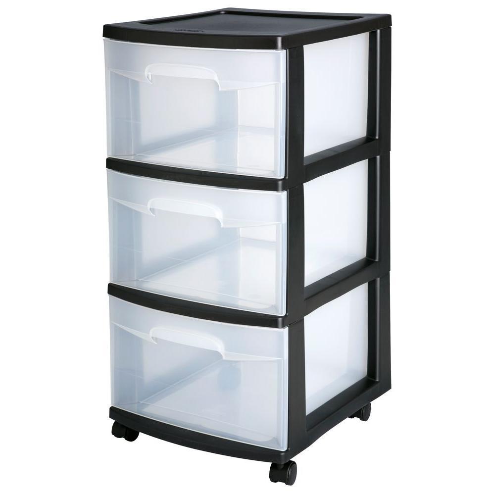 Sterilite Plastic 3-Drawer Cart, Black