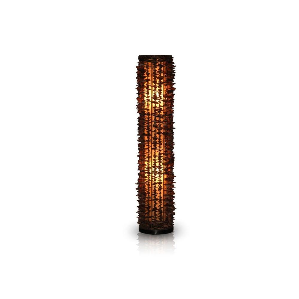 Jeffan Harold 59 in. Dark Brown Decorative Floor Lamp with Natural Rattan Fringe