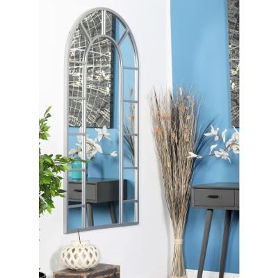 Litton Lane Arched White Decorative Wall Mirror with 14-Pane Divisions