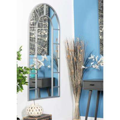 Arched White Decorative Wall Mirror with 14-Pane Divisions
