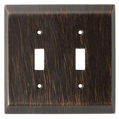 Stately Decorative Double Switch Plate, Venetian Bronze