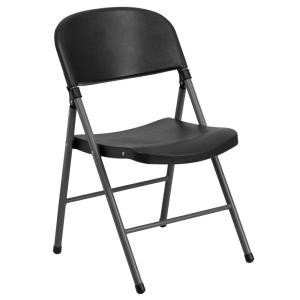 capacity black plastic folding chair with charcoal frame - Plastic Folding Chairs