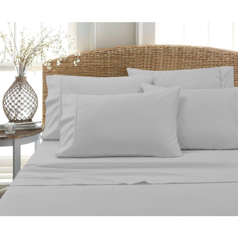 6-Piece Grey Solid Cotton Rich Queen Sheet Set
