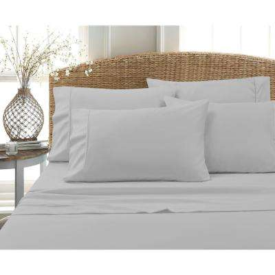 MHF Home 6-Piece Grey Solid Cotton Rich Queen Sheet Set