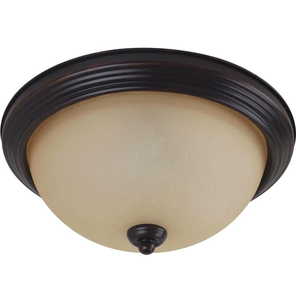 3 Light Burnt Sienna Ceiling Flushmount