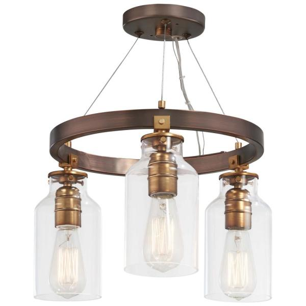Morrow Collection 3-Light Harvard Court Bronze with Gold Highlights Semi-Flushmount