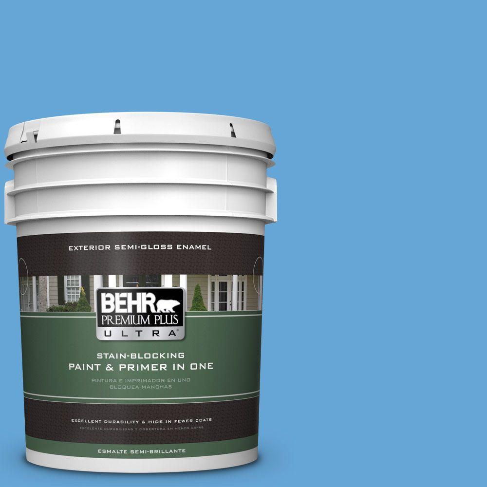 BEHR Premium Plus Ultra 5-gal. #560B-5 Ocean Tropic Semi-Gloss Enamel Exterior Paint