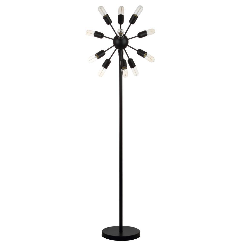 Urban 67.5 in. Black Retro Floor Lamp with Edison 25-Watt Bulbs