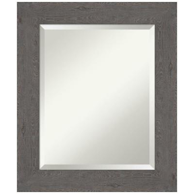 Medium Rectangle Distressed Grey Beveled Glass Modern Mirror (25.38 in. H x 21.38 in. W)