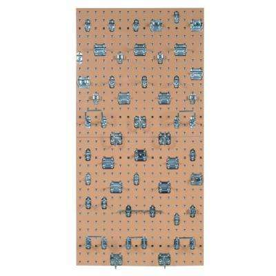 (2) 3/8 in. Tan Steel Square Hole Pegboards with LocHook Assortment