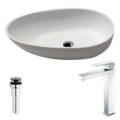Trident 1-Piece Man Made Stone Vessel Sink in Matte White with Enti Faucet in Chrome