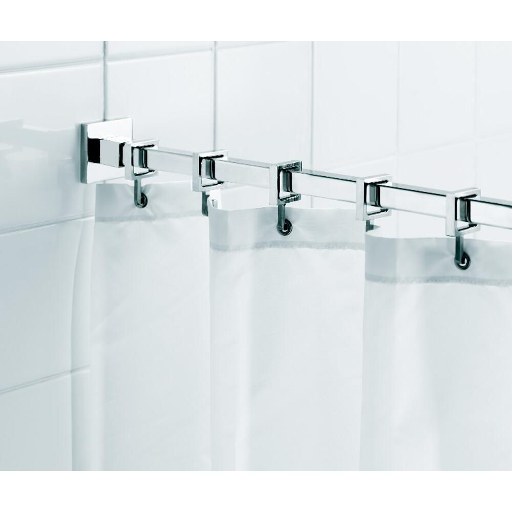 Croydex Square 98.4 in. L Luxury Shower Curtain Rod with Curtain ...