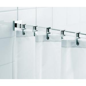 l luxury shower curtain rod with curtain hooks in chrome - Shower Rods