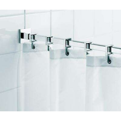 Square 98.4 in. L Luxury Shower Curtain Rod with Curtain Hooks in Chrome