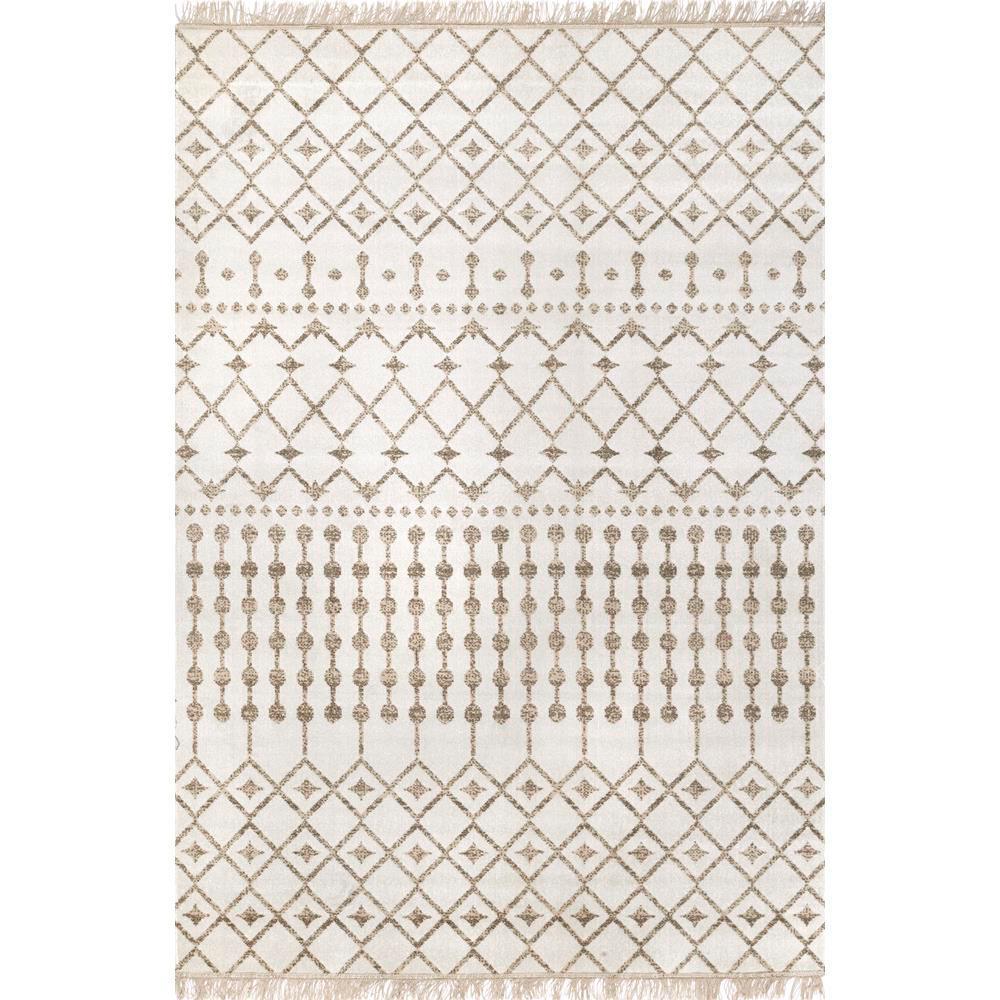 Rosalie Modern Moroccan Trellis Beige 2 ft. x 4 ft. Indoor/Outdoor Area Rug
