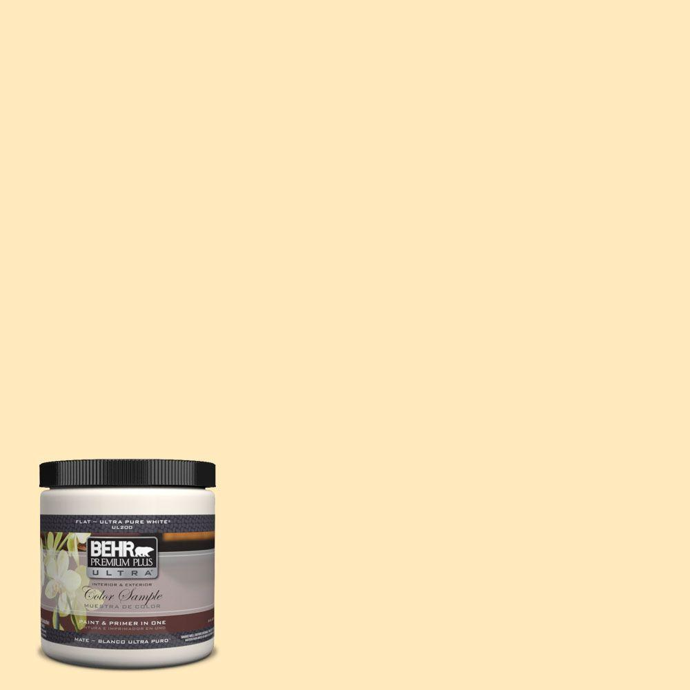 BEHR Premium Plus Ultra 8 oz. #310A-2 Gold Buttercup Flat Interior/Exterior Paint and Primer in One Sample