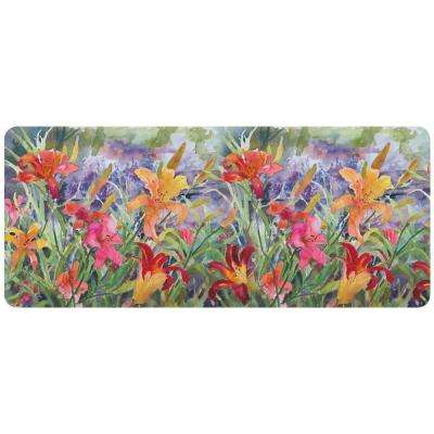 Day Lilies 22 in. x 52 in. Polyester Surface Mat