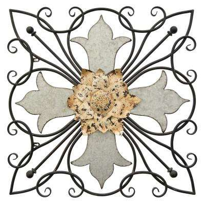 Metal Wall Art Finished in Gray - 28.25 X 1.25 X 28.25
