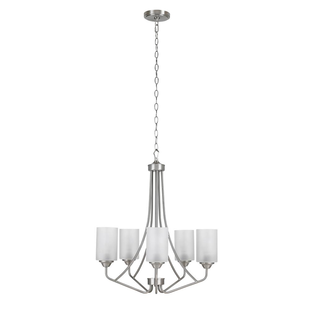 Catalina Lighting 5 Light Brushed Nickel Chandelier With Frosted Opal Glass Shades