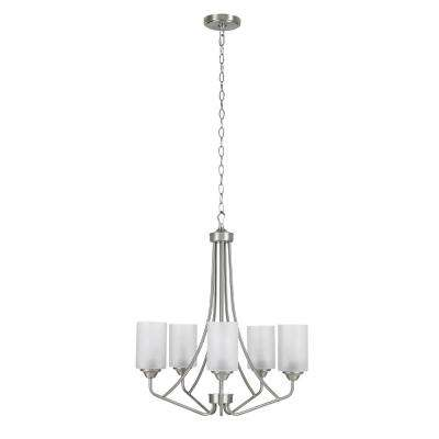 5-Light Brushed Nickel Chandelier with Frosted Opal Glass Shades