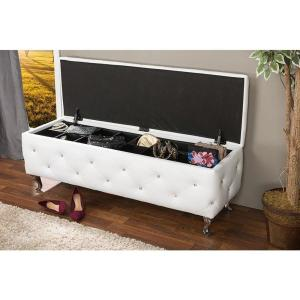 Baxton Studio Stella Glam White Faux Leather Upholstered Storage Ottoman by Baxton Studio