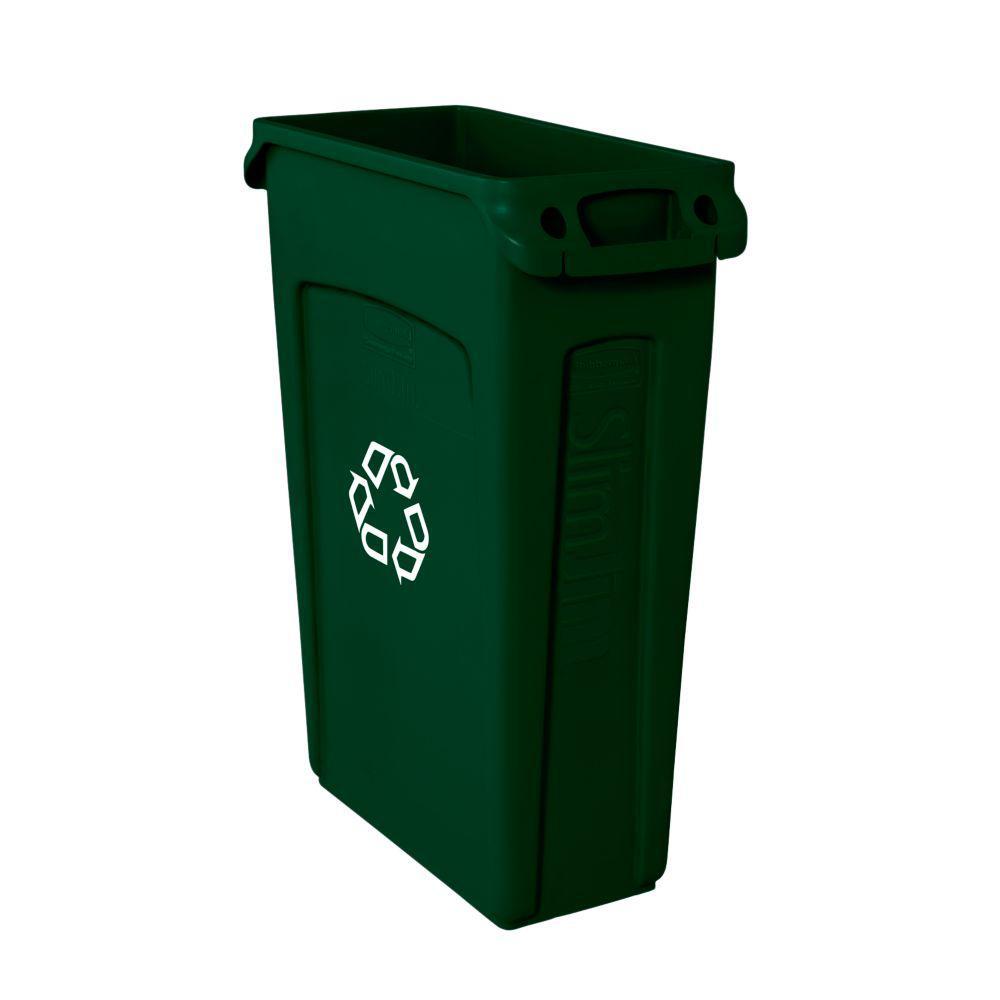 Slim Jim 23 Gal. Green Recycling Bin with Venting Channels