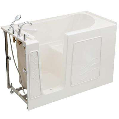 Builder's Choice 53 in. Left Drain Quick Fill Walk-In Soaking Bath Tub in White