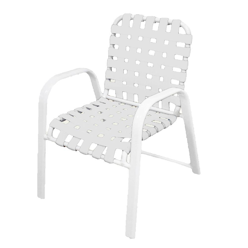 Marco Island White Commercial Grade Aluminum Patio Dining Chair with White