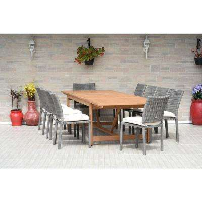 Jameson 11-Piece Wood/Wicker Rectangular Patio Dining Set with White Cushions