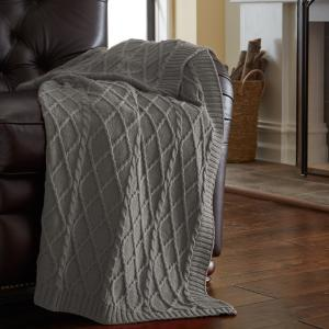 Gray Cotton Oversized Cable Diamond Knit Throws