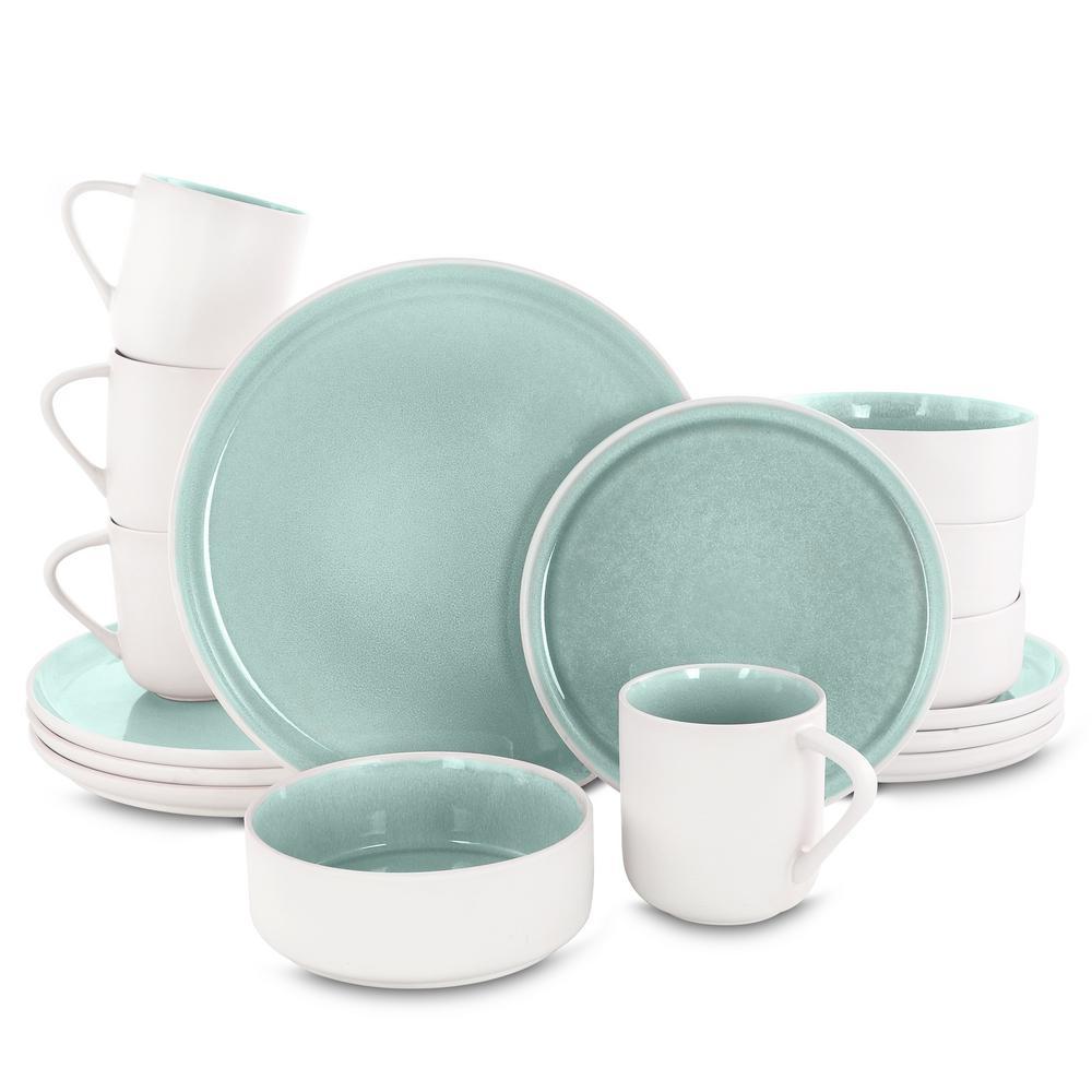 Global Edge 16-Piece Light Green Stoneware Dinnerware Set (Service for 4)
