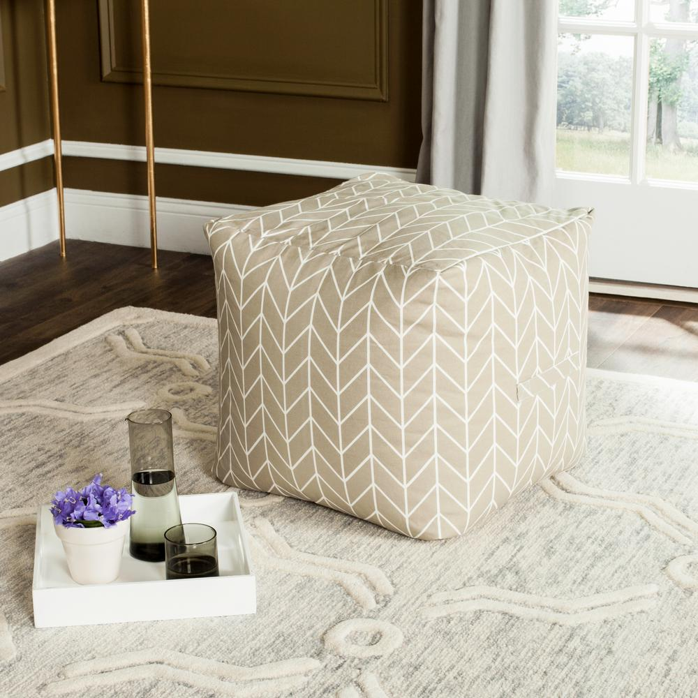 Merveilleux Safavieh French Leaf Pouf In Greige