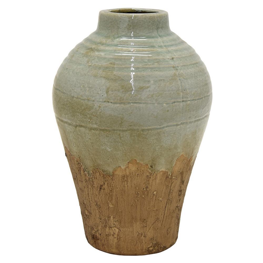 12 in. Green Ceramic Decorative Vase