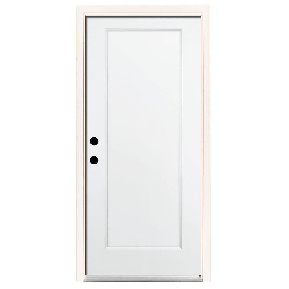 Steves & Sons Premium 1-Panel Primed White Steel Prehung Front Door with Brickmold-DISCONTINUED