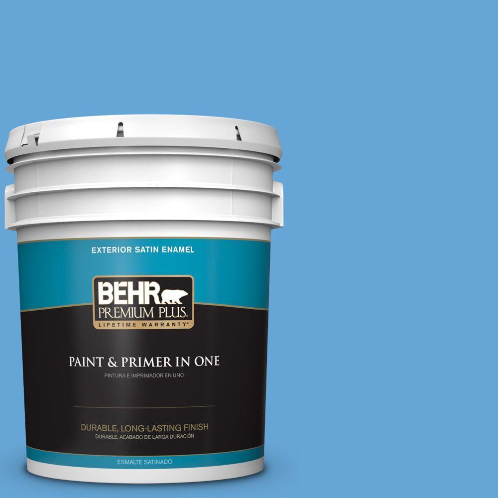 BEHR Premium Plus 5-gal. #560B-5 Ocean Tropic Satin Enamel Exterior Paint