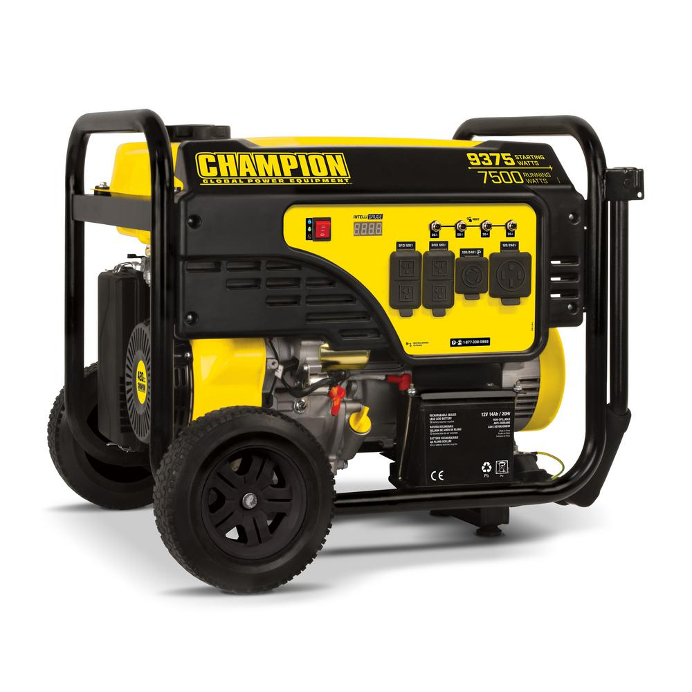Champion Power Equipment 7500-Watt Gasoline Powered Electric Start Portable Generator with Champion 420cc 4-stroke Engine
