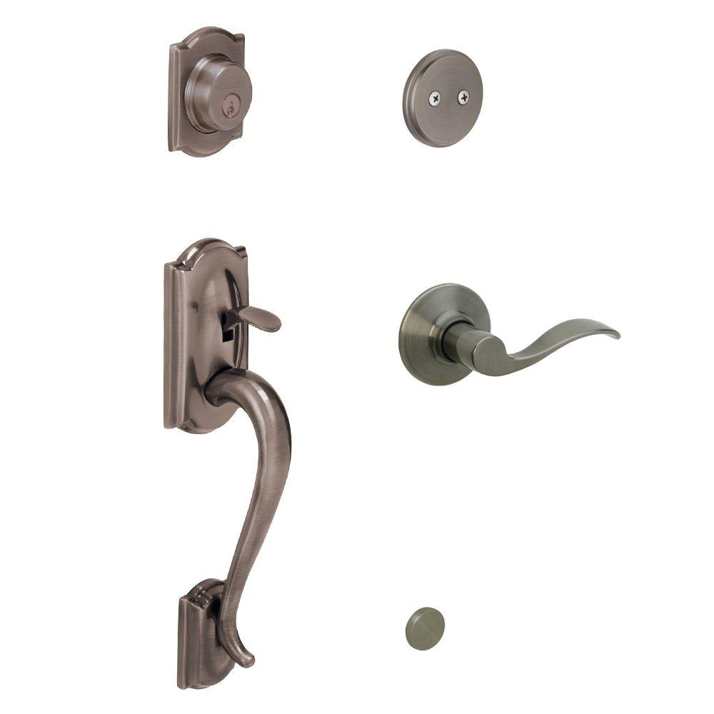 Schlage Camelot Antique Pewter Left-Hand Dummy Handleset with Accent Interior Lever-DISCONTINUED