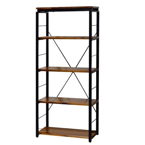 Industrial 54 in. Brown and Black Wooden 4-Shelf Bookcase with Open Metal Frame